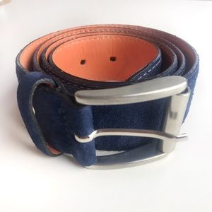 Van Lier Men's Blue Leather Made in Italy Belt